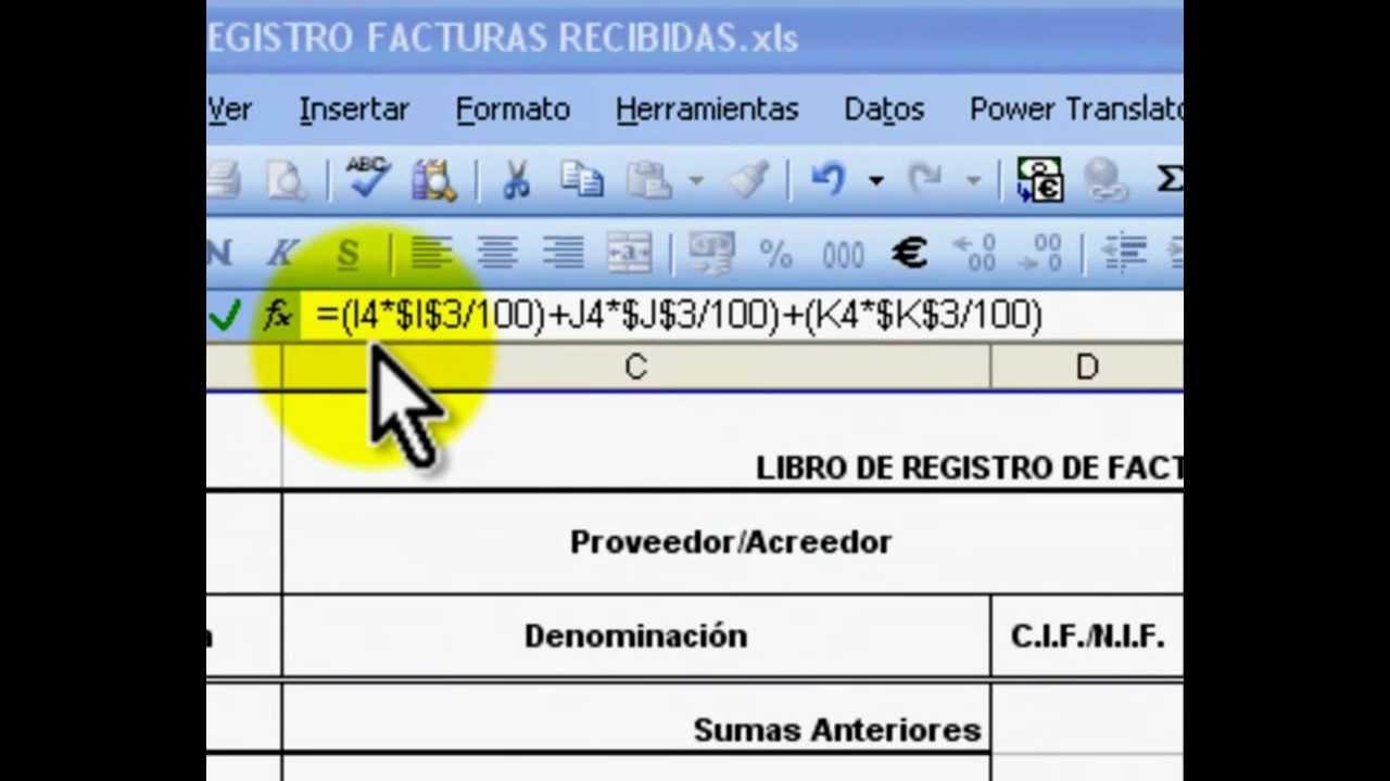 Libro Registro Facturas Recibidas Excel Dise 209 O Y