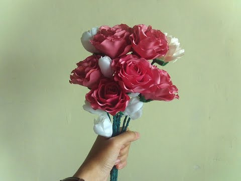 cara membuat bunga mawar untuk Handbouquet dari kain satin
