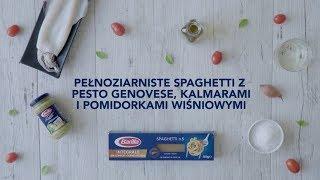 Spaghetti pełnoziarniste z pesto genovese, kalmarami i pomidorkami wiśniowymi