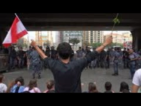 Anti-government protesters block roads in Beirut