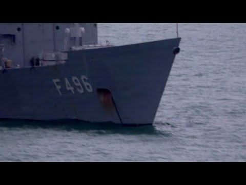 Turkish Navy TCG Gökova F 496 Videoed From On Board MV Armorique, Plymouth, UK