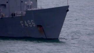 Turkish Navy TCG Gökova F 496 Videoed From On Board MV Armorique, Plymouth, UK