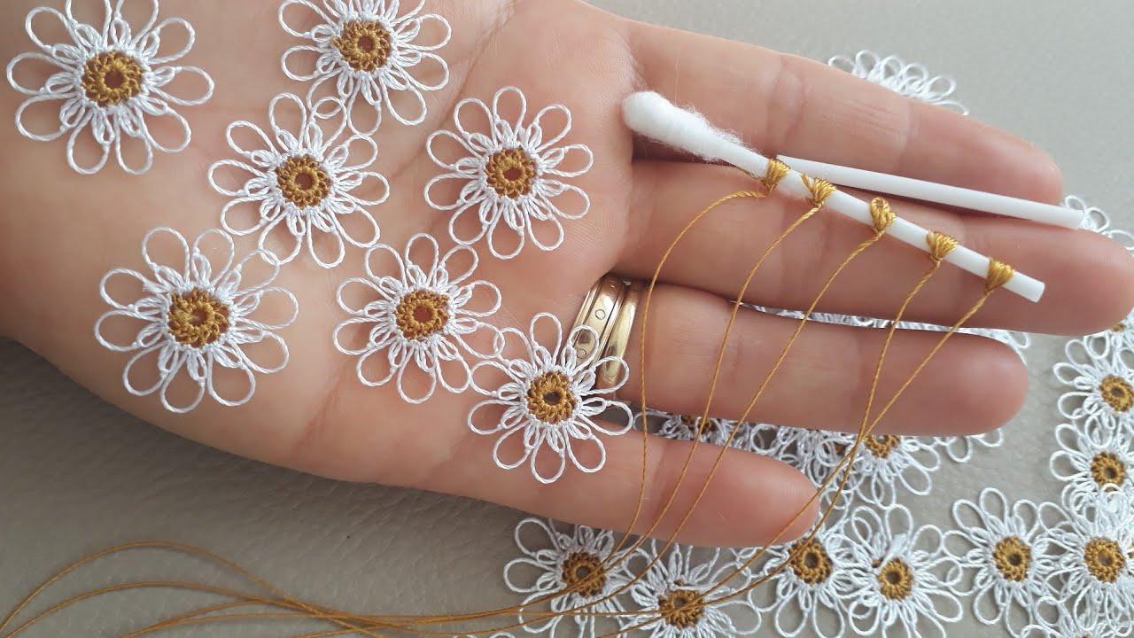 Tığ işi örgü papatya çiçek yapımı (kolay çiçek yapımı)