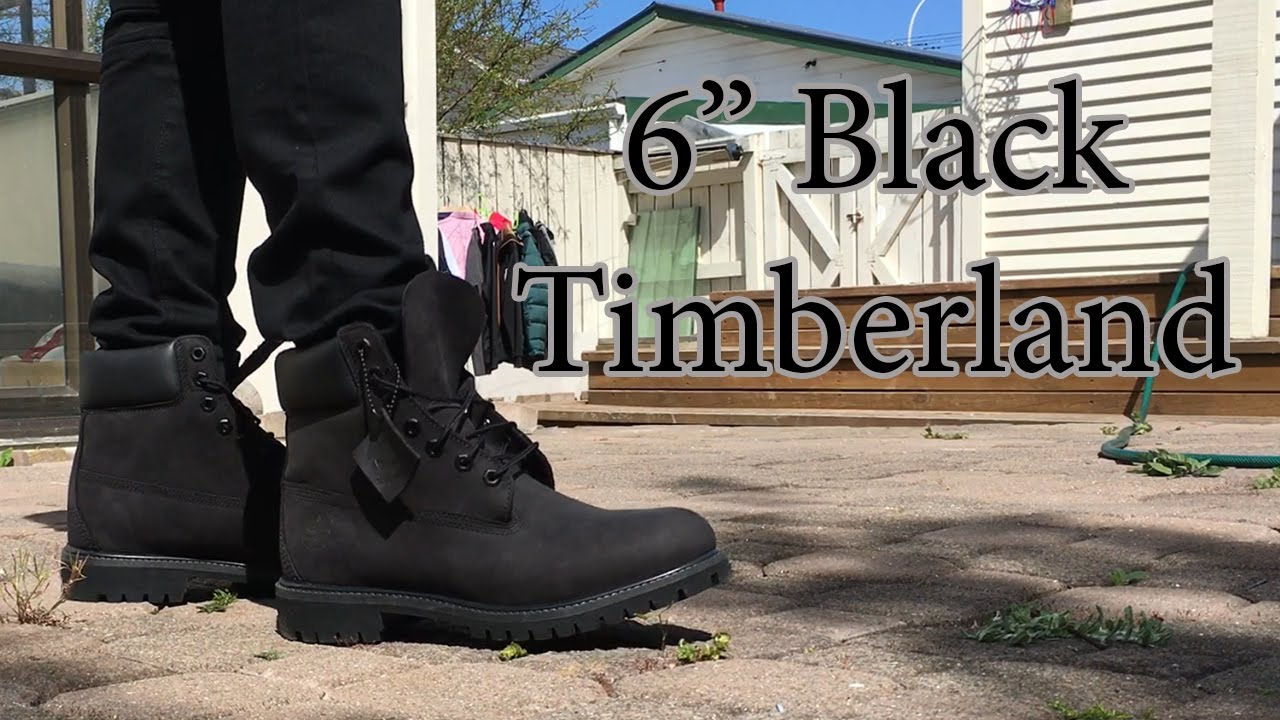 detailed look 2cb5a 87d78 Timberland   6 inch Premium Boot   Black on Black   On Feet with a Range of  Bottoms - YouTube