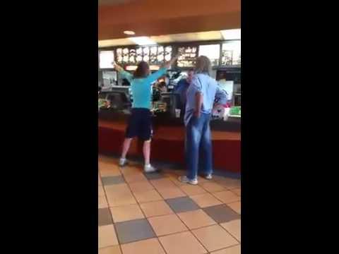 Crazy Woman Hits McDonalds Employee - YouTube