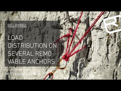 Belaying on several removable anchors: Load distribution