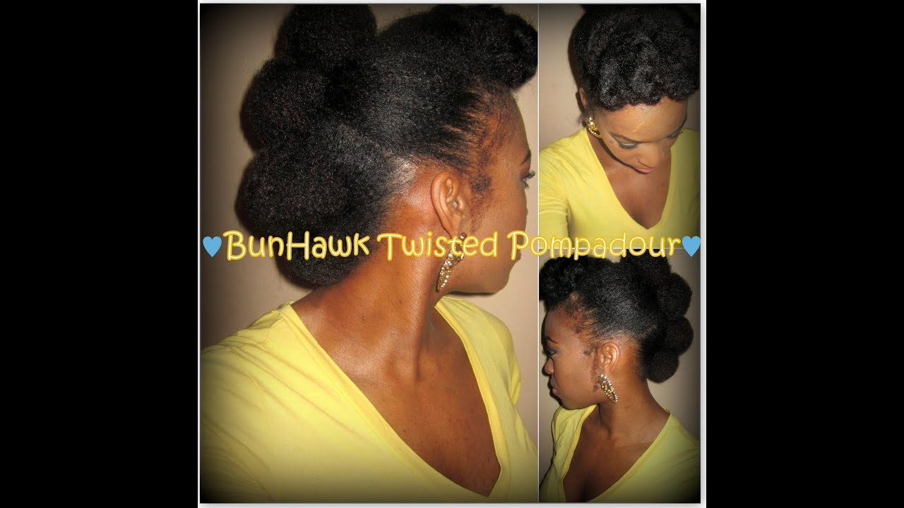 Protective Style Bunhawk With Twisted Pompadour On