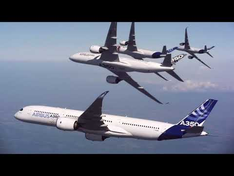 Five Airbus A350 XWBs together in Flight Formation