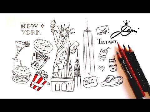 💕New York Doodles ⭐️🗽🍎NYC Freiheitsstatue zeichnen lernen 🍿🍩 How to draw Manhattan🍸Ню Йорк