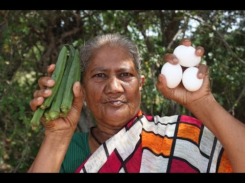 My grandma prepare a Lady finger with egg curry / Village food factory