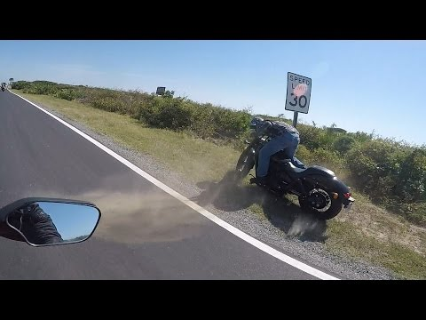 Motorcycle Crash  Bike Hits Speed Sign