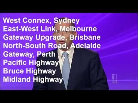 Tony Abbott's transport plan summarised in 30 seconds: Roads, roads and more roads