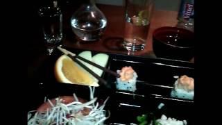 Водочка под суши в кафе японской кухни Vodka by sushi in Japanese cuisine cafe