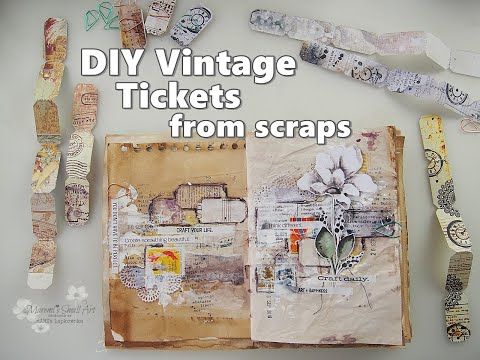 DIY Vintage Tickets Embellishments used in Junk Journal Page Tutorial ♡ Maremi's Small Art ♡