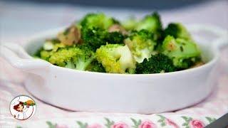 Брокколи с грибами - аппетитный овощной гарнир. Пошаговый рецепт.