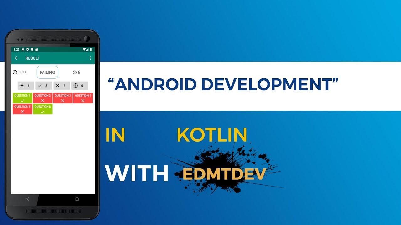 Kotlin Android Tutorial Multichoices Quiz App part 5 Question Online Mode