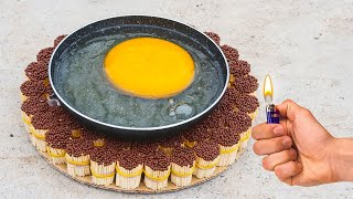 EXPERIMENT: OSTRICH EGG Vs 10 000 Matches | Fried eggs on match
