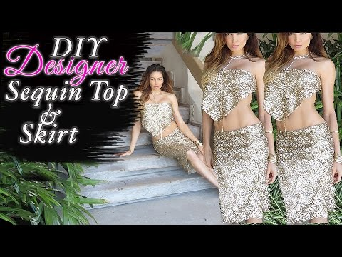 67d5a5cb931 DIY Sequin Skirt - Top - EASY Fashion Hack - YouTube