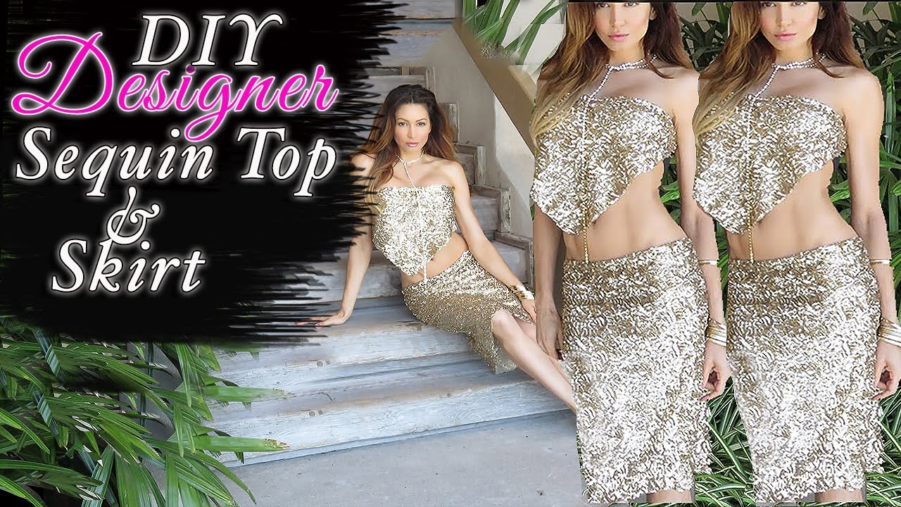 DIY Sequin Skirt - Top - EASY Fashion Hack - YouTube