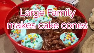 Large Family makes Cupcake Cones and does a baking day