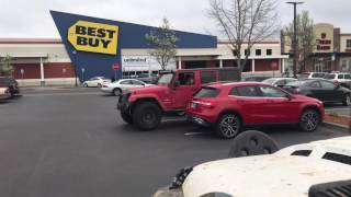 Teaching Mercedes driver a lesson  how to park ( jeep blocking  blocking Mercedes OFFICIAL VIDEO)