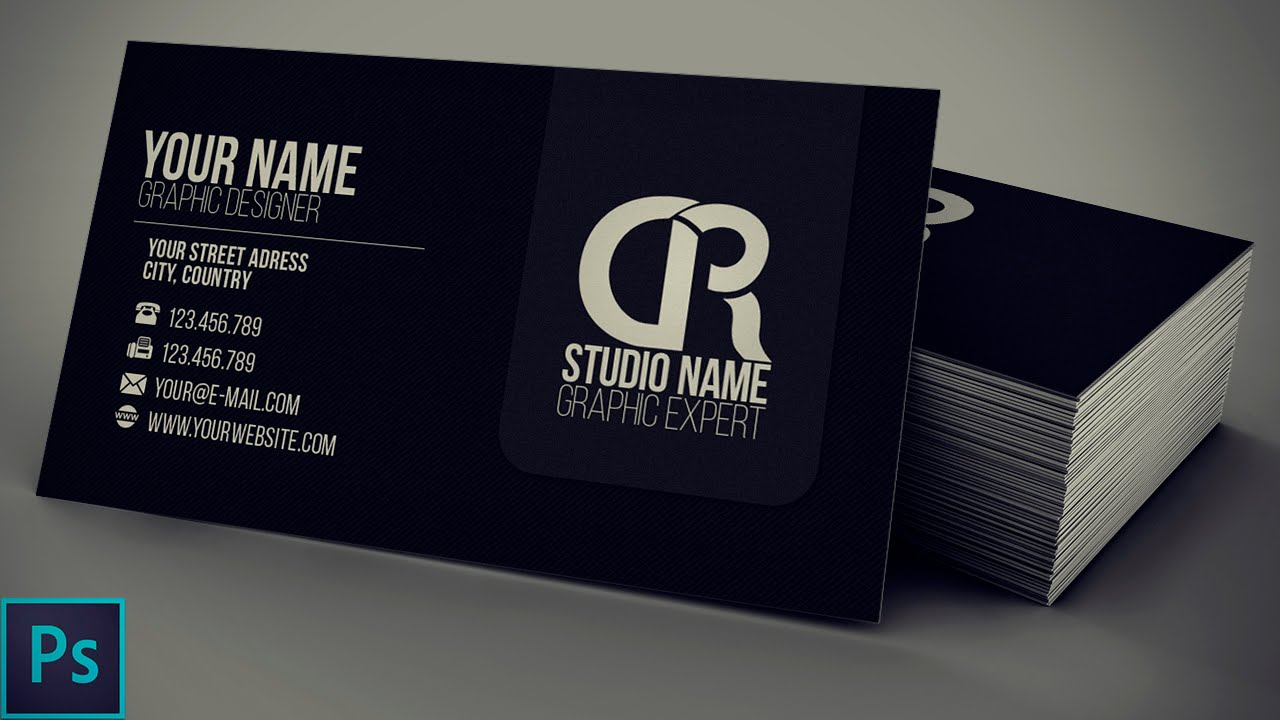 Modern black business card psd photoshop tutorial youtube wajeb Images