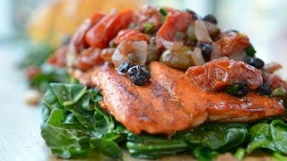 Sockeye Salmon And Roasted Cauliflower On A Bed Of Greens Recipe
