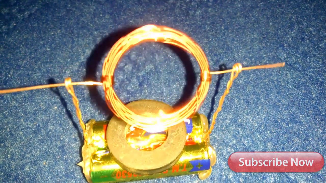 school experiments make motor in copper wire and battery with magnet ...