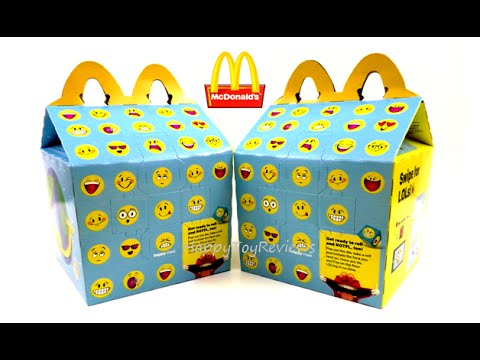 2016 McDONALD'S EMOJI PLUSH HAPPY MEAL BOX KIDS SMILEY SMILES ANGRY BIRDS MOVIE NEXT HAPPY MEAL TOYS