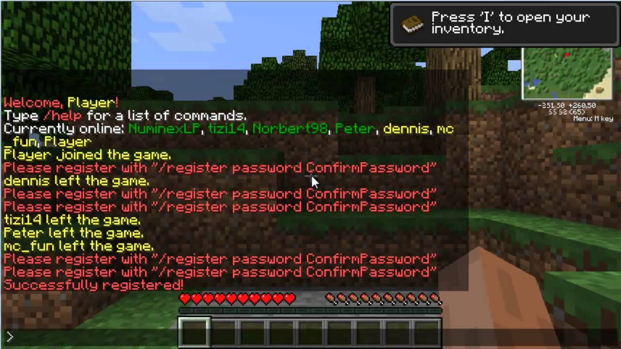 How to register on the server in minecraft please pliz urgently 20