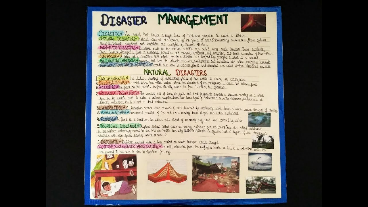 Disaster Management chart| How to make a chart for School ...
