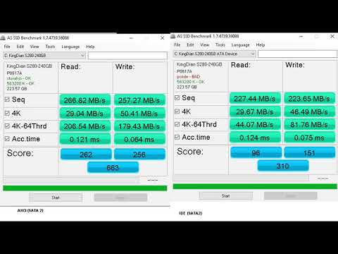 SSD AHCI And IDE Speed Comparision