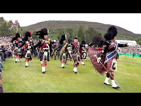 The Queen & Royal Family attend the 2018 Braemar Gathering with massed pipes & drums display