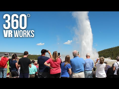 Old Faithful Geyser In Yellowstone - 360 VR Video