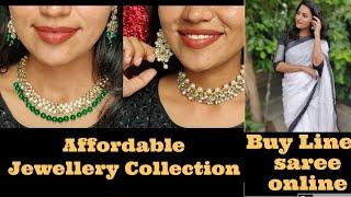 ഒരു അടിപൊളി classy but affordable Linen Saree|My online affordable Jewellery Collection low price||