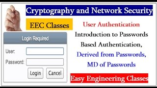 User Authentication Introduction - Passwords Based , Derived from Passwords, MD of Passwords