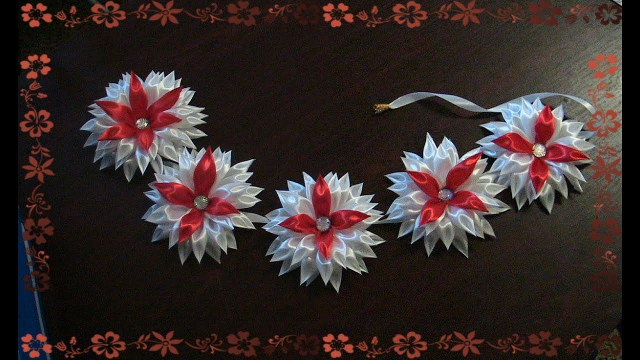 Лента в косу с цветами канзаши видео