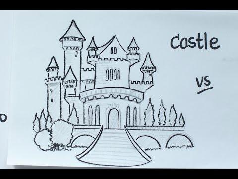 52: How to Draw a Disney Fairy Tale Castle using Pencil ☆ Vivi Santoso