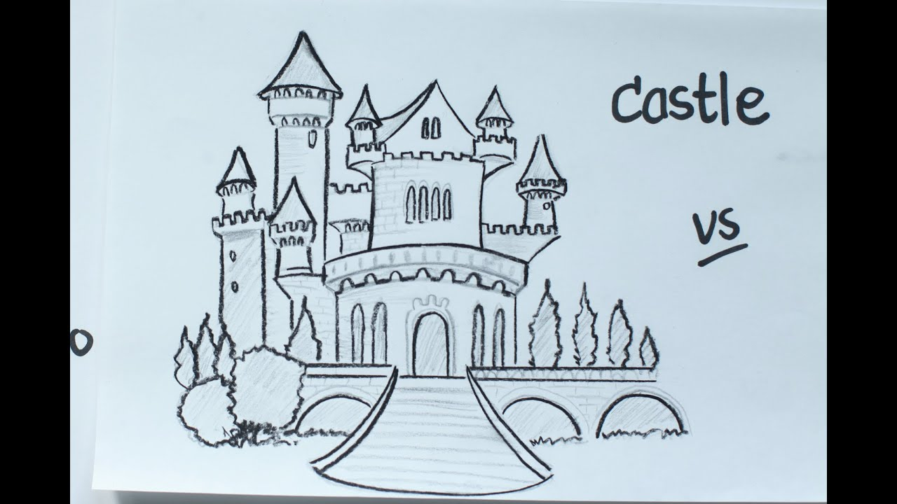 52: How to Draw a Disney Fairy Tale Castle using Pencil ☆ Vivi ...