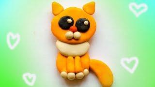 Как слепить кота. Рыжий милый кот из пластилина. Clay cat.