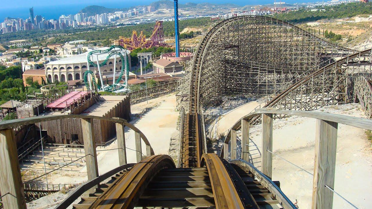 Magnus Colossus Roller Coaster! Multi Angle POV! Terra Mitica Theme Park Benidorm Spain