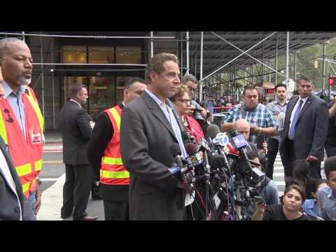 Gov. Andrew Cuomo conducted a media conference Sunday morning in the Chelsea neighborhood of Manhattan, the site of Saturday night's explosion.