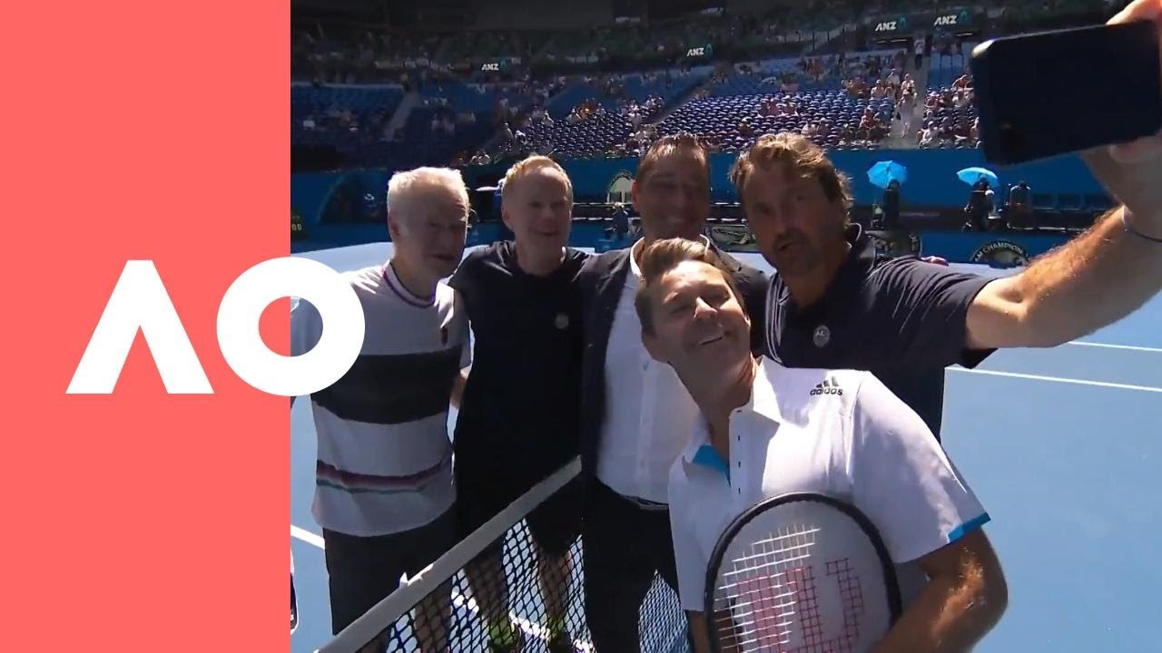 John Mcenroe Henri Leconte Show Their Selfie Skills At Rod Laver