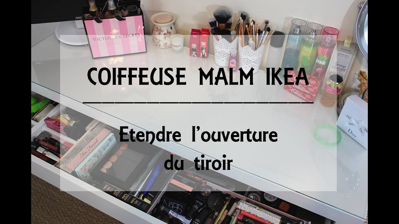 coiffeuse malm ikea comment tendre l 39 ouverture du tiroir youtube. Black Bedroom Furniture Sets. Home Design Ideas