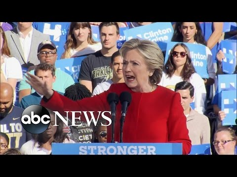Clinton Pushes Across Battleground States on Final Day of Campaign