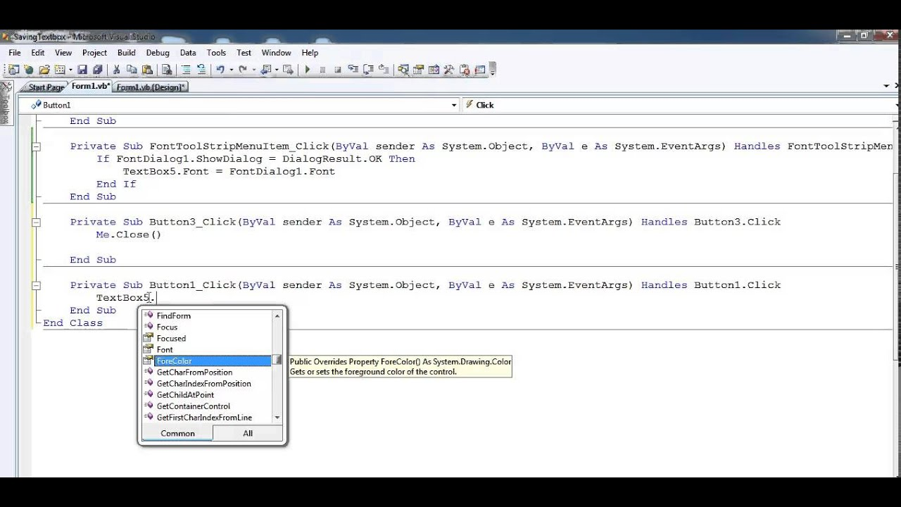 How to Save TextBox data in Visual Basic. Net project
