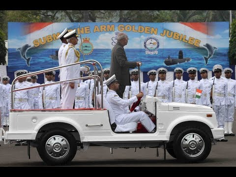 President Kovind presents the President's Colour to the Submarine Arm of the Indian Navy