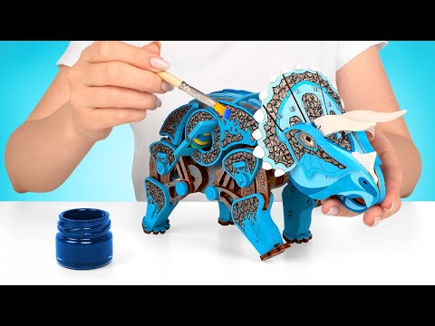 Miniature Wooden Dinosaur At Your Home!