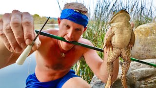 Hunting FROGS with HOMEMADE BLOWGUN! (Epic Slo-Mo)