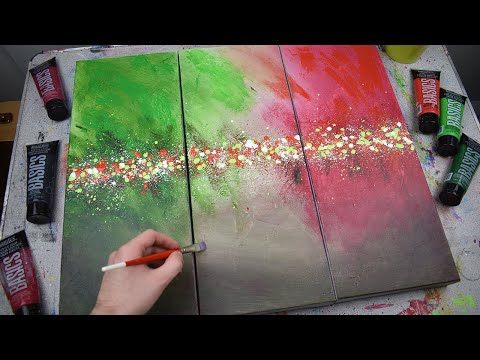 Triptych Abstract Painting | Italian Flag | Green & Red | Time Lapse